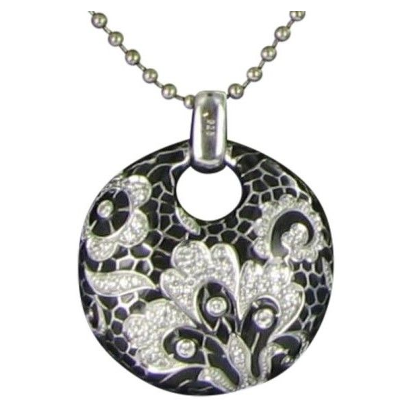 Pre-owned Belle Etoile Sterling Silver, Enamel & Cubic Zirconia Black... (14.675 RUB) ❤ liked on Polyvore featuring jewelry, pendants, cz jewelry, belle etoile jewelry, sterling silver cz jewelry, cz jewellery and enamel pendant