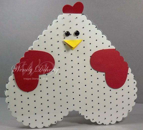handmade valentine ... heart chicken... heart body, heart wings, & heart comb ... delightful!!! #SU