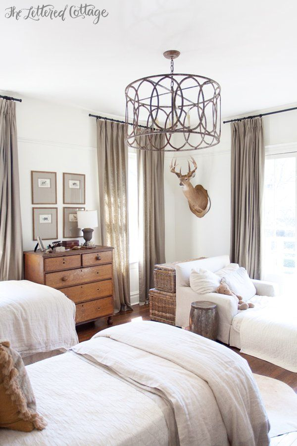 Boys Bedroom | Old House | Chandelier | Light Fixture | Antique Pine Dresser | White and Neutral