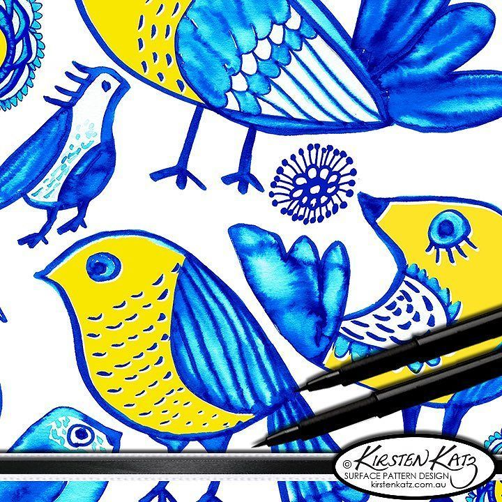 Close up detail of the birds in my Folk Garden hand painted watercolour design