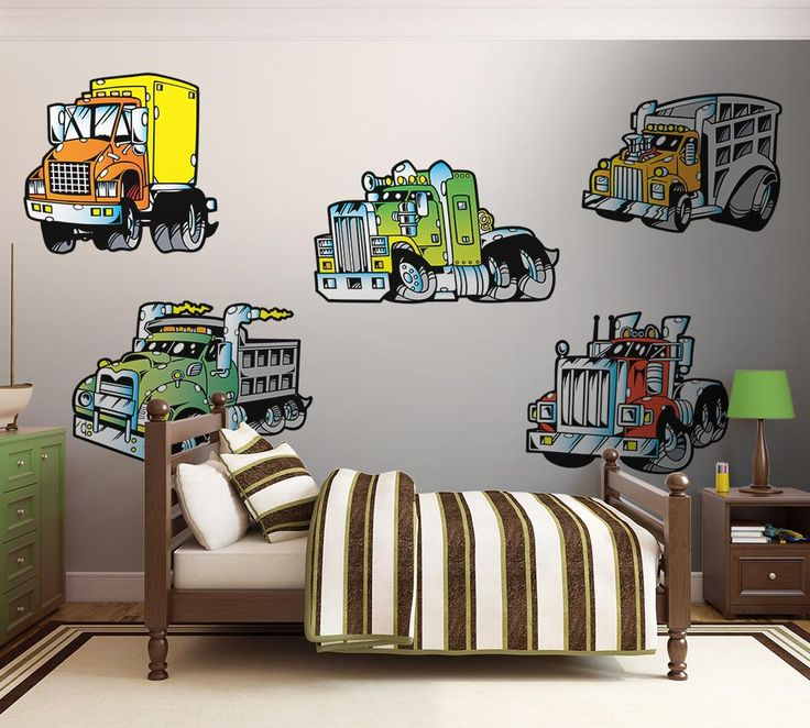 5 different semi truck wall decals each inches wide