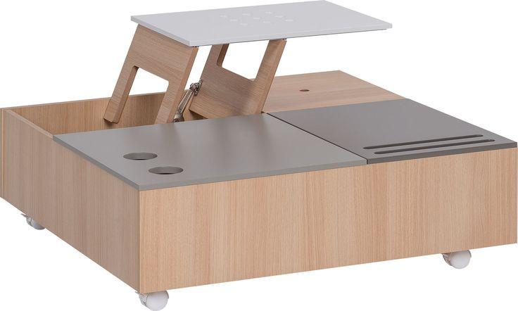 Cechy i korzyści: Stolik to element systemu Custom, w którego skład wchodzą: wypoczynek z dwoma szufladami (w roli podestu pod poduszki), poduszki siedziskowe dostępne w 4 kolorach, poduszki ...