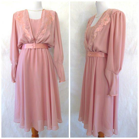Vintage jaren ' 80 doet ' 40s Chiffon jurk Faux parel