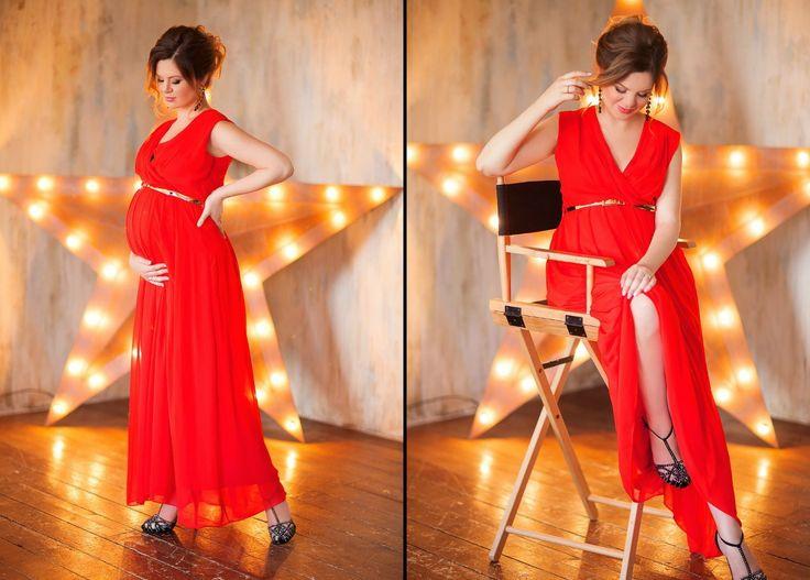 Красное платье для фотосессии беременных