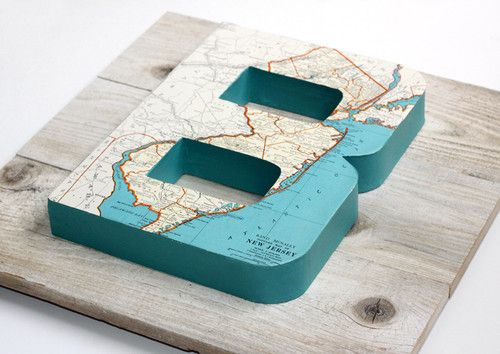 Vintage Map Letter B on Reclaimed Wood - artwork - orange county
