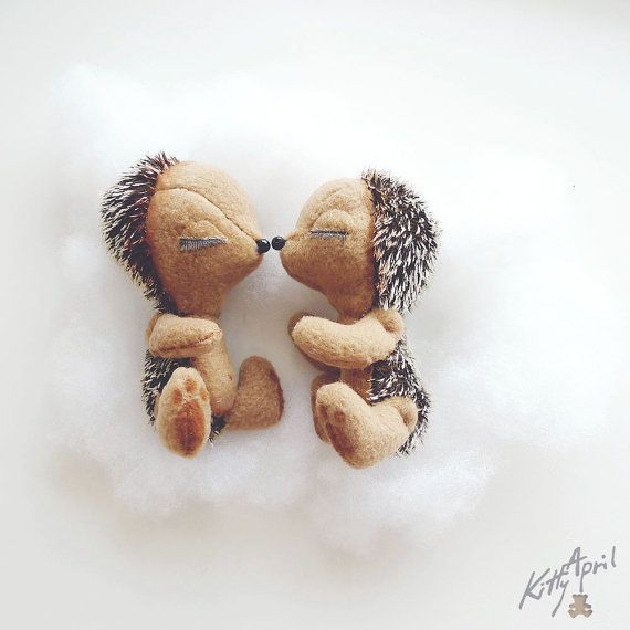 Hedgehogs Love Couple 4 inch by KittyAprilHandmade on Etsy, $90.00