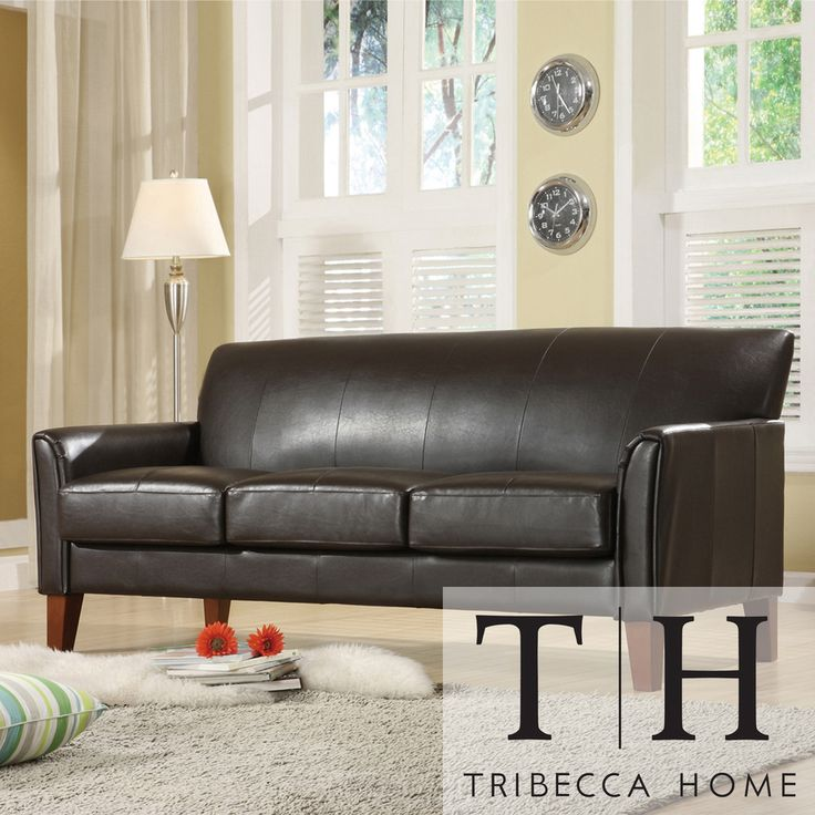 Tribecca Home Uptown Dark Brown Faux Leather Modern Sofa By Tribecca Home Loveseats