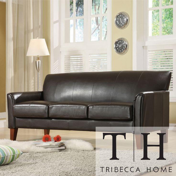 Best Tribecca Home Uptown Dark Brown Faux Leather Modern Sofa 400 x 300