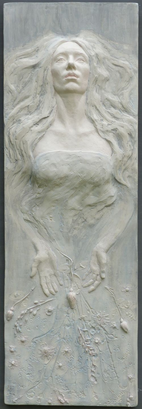 Coloured plaster #sculpture by #sculptor Tristan MacDougall titled: 'Ophelia'. #TristanMacDougall
