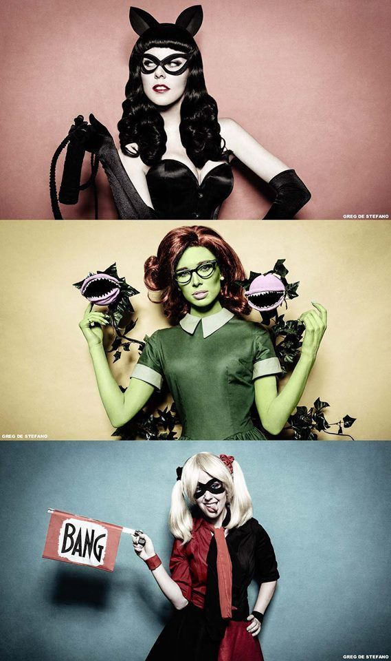 Chloe Dykstra as Poison Ivy, Meg Turney eas Harley Quinn, Michele Morrow as Catwoman. Love these ladies, love these cosplays!