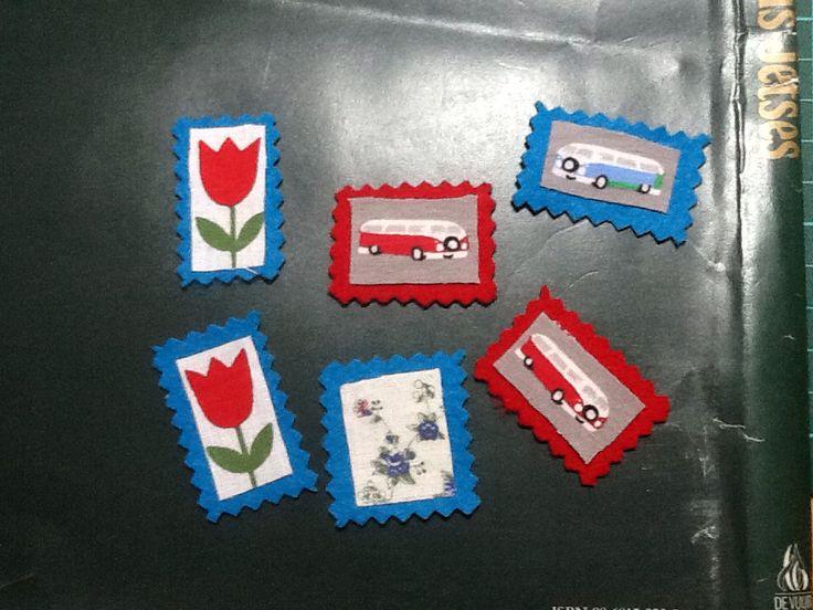 Postzegels van vilt met stof