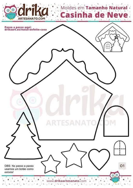 Moldes para hacer casas de Jengibre en fieltro - Ideas de Manualidades