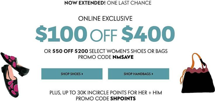 Neiman Marcus | Up To $100 Off $400 Designer Handbags & Shoes  InCircle Points