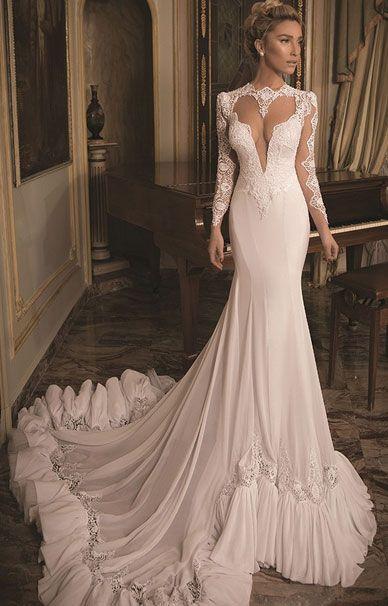 Свадебные платья Daniel Romi Kadosh с кружевным шлейфом | смотреть фото цены купить