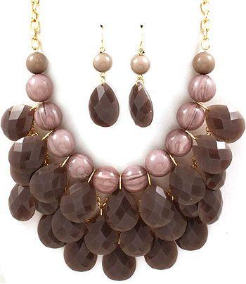 GREY BEADED JEWELRY NECKLACE & EARRING SET Bozz Diva Fantasy Woman Jewelry bozzdiva.com