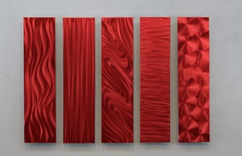 Metal-Abstract-Modern-Painting-Wall-Art-Decor-5-Easy-Pieces-Red-by-Jon-Allen