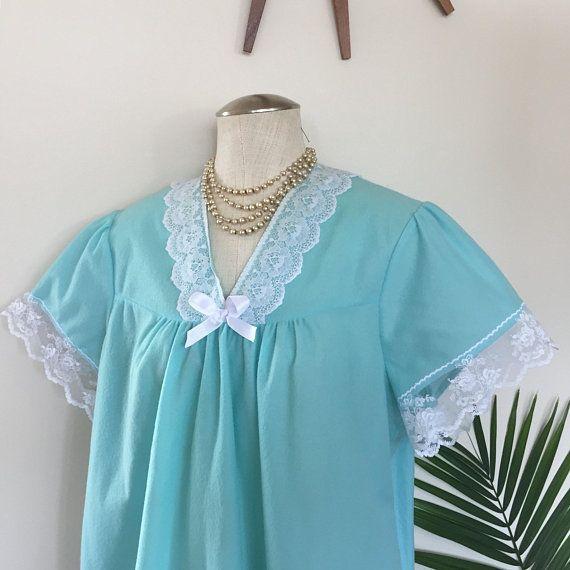 1960s vintage turquoise blue nightie white lace trim soft peignoir nightgown top CAROL plus size pinup lingerie VOLUP