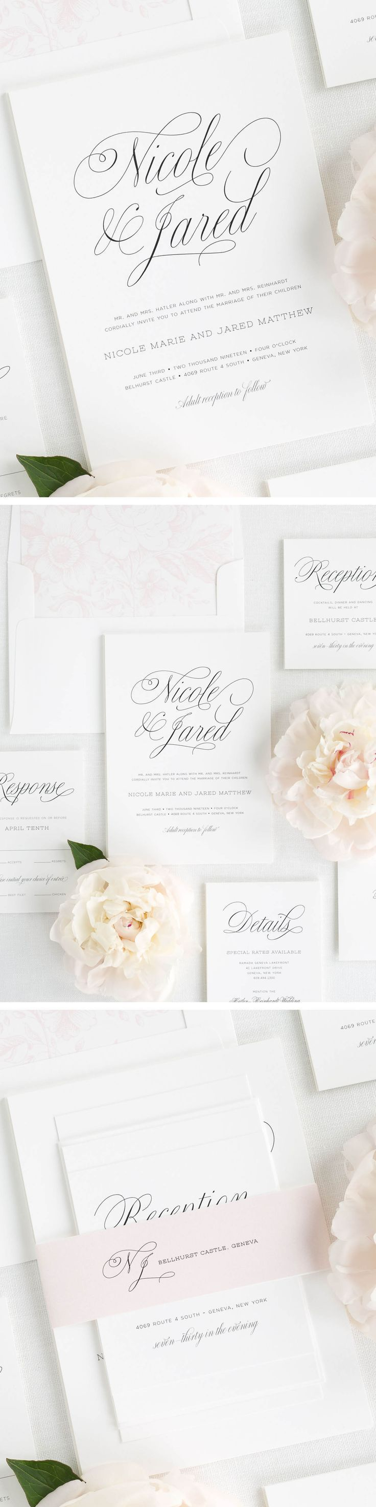 Happy birthday sign in elegant black script type with ornament - A Beautiful And Delicate Script Font Highlights The Couple S Names On This Simple And Elegant Wedding