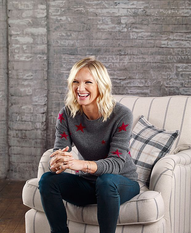 Jo Whiley and DFS armchair