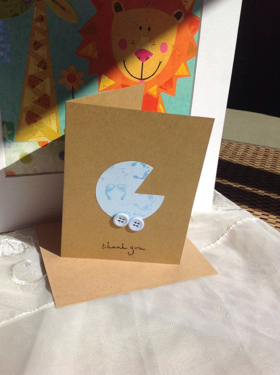 Baby Shower Thank You Cards, Baby Thank you cards, Kraft Thank you cards, Thank you Notes, baby carriage thank you card sets