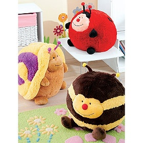 Snuggly bug stuffed animal pillows are cheery and colorful and just the thing to add a buzz of personality to your child's bedroom!