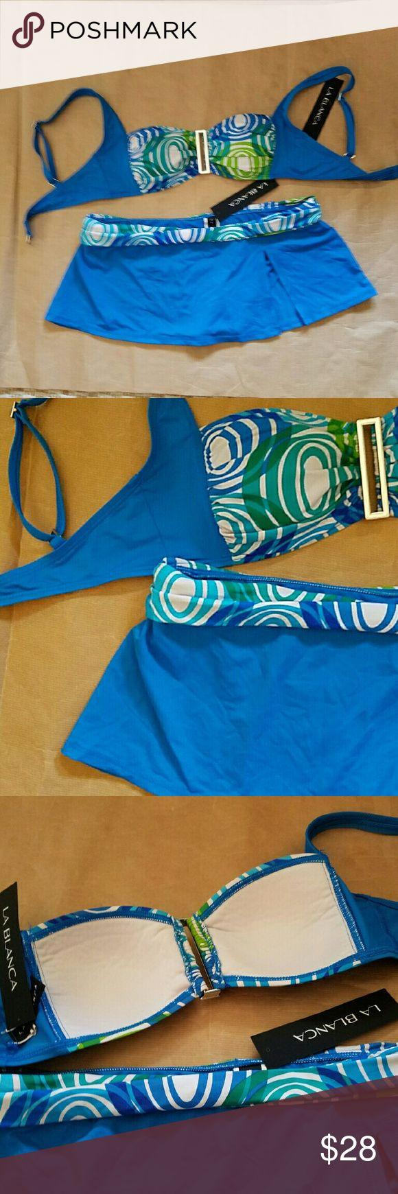 LA BLANCA SIZE 8 SWIMSUIT LA BLANCA SKIRT SWIMSUIT SIZE 8 BLUE WHITE La Blanca Swim Bikinis