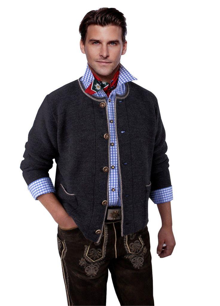 Trachtenjacke Herren Trachten Trachtenjanker Trachtenstrickjacke Grau Anthrazit in Kleidung & Accessoires, Herrenmode, Trachtenmode | eBay