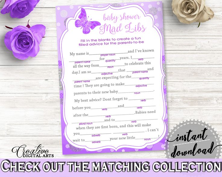 Mad Libs Baby Shower Mad Libs Butterfly Baby Shower Mad Libs Baby Shower  Butterfly Mad Libs Purple Pink Party Plan, Party Planning 7AANK