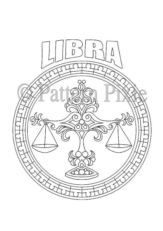 Adult Coloring Page Zodiac Libra por PatternPixie en Etsy --> If you're looking for the top coloring books and writing utensils including colored pencils, gel pens, watercolors and drawing markers, logon to http://ColoringToolkit.com. Color... Relax... Chill.