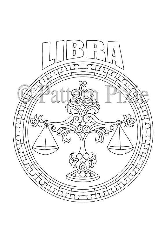 Adult Coloring Page Zodiac Libra van PatternPixie op Etsy