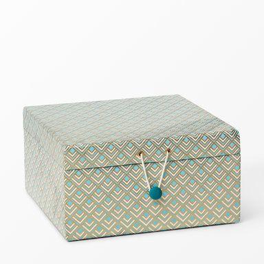 Förvaringsbox med knapp, 25,5x25,5x13 cm, turkos
