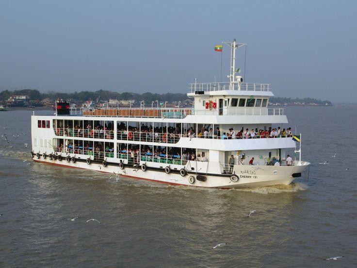 The large passenger ferry Cherry 3 connects Yangon, Myanmar (Burma), to Dalah, just across the Yangon (Hlaing) River.