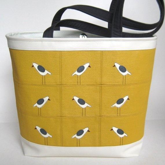 mustard and charcoal bird bag - chanda helzer on etsy