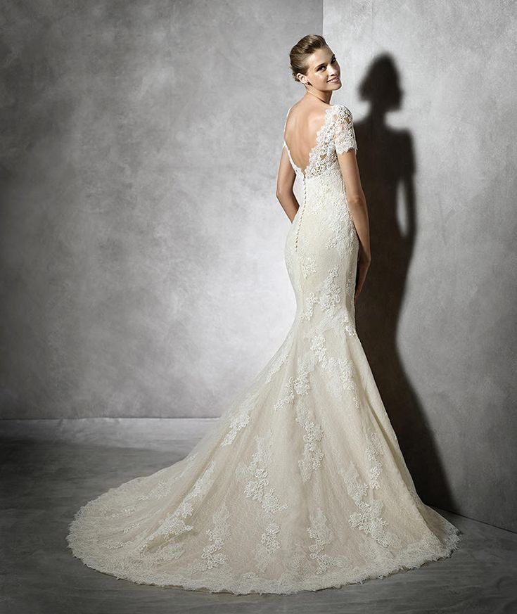 Style tair 2016 pronovias lace dress with short sleeves in for Beige short wedding dresses