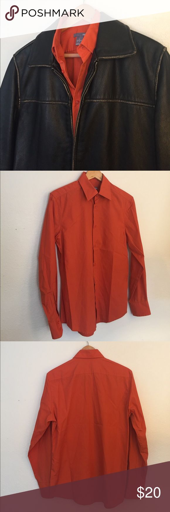 H&M Men's Dress Shirt - Orange! Pop some color under your favorite blazer or jacket with this deep orange dress shirt from H&M. Leather jacket for sale separately in my closet! H&M Shirts Dress Shirts