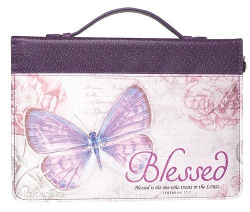 Buy Bible Cover Medium: Blessed Butterfly Purple Fashion Trendy Luxleather Online - Bible Cover Medium: Blessed Butterfly Purple Fashion Trendy Luxleather Bible Cover: ID 6006937131675