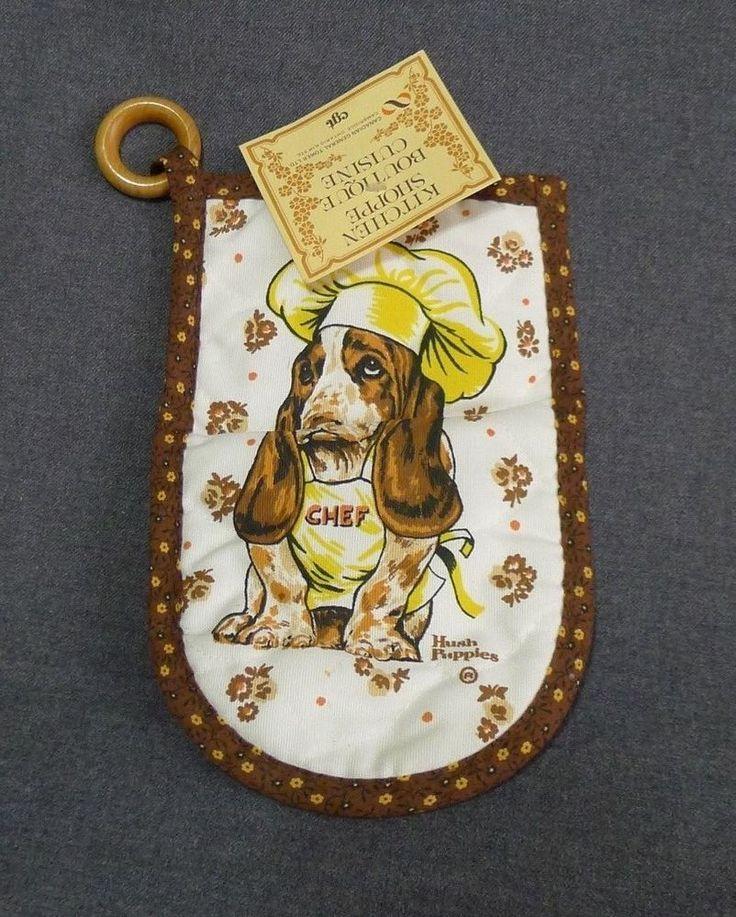 Hush Puppies Kitchen Oven Mitt Bassett Hound Chef Dog NOS Rare Canada #KitchenShoppe