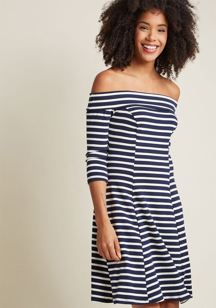 Off-Shoulder Knit Dress in Navy Stripe, #ModCloth