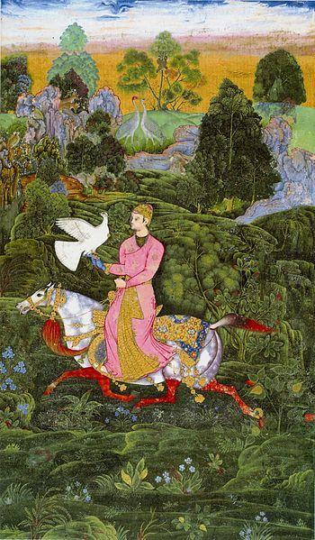 Farrukh Beg. Sultan Ibrahim Adil Shah II Khan hawking. Page from St. Petersburg Album. Bijapur ca.1590-95 (28,7x15,6cm) Institute of Oriental Studies St. Petersburg