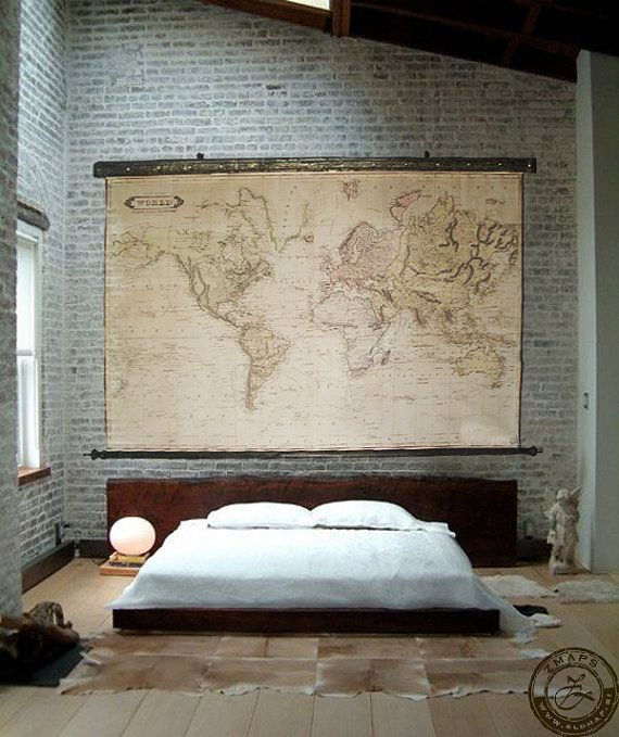 Magnificent large world map 1800, Huge wall decor, Pull down map, Canvas antique wooden iron frame, Gothic industrial, Steam punk feel