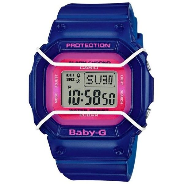 Baby-G Bright Blue Womens Blue With Pink Square Digital Baby G Watch -... ($79) ❤ liked on Polyvore featuring jewelry, watches, bright blue, blue watches, pink watches, digital alarm watch, pink digital watches and rubber watches