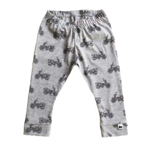 Leggings - Vintage Motorcycles on Grey - Little & Lively - 1