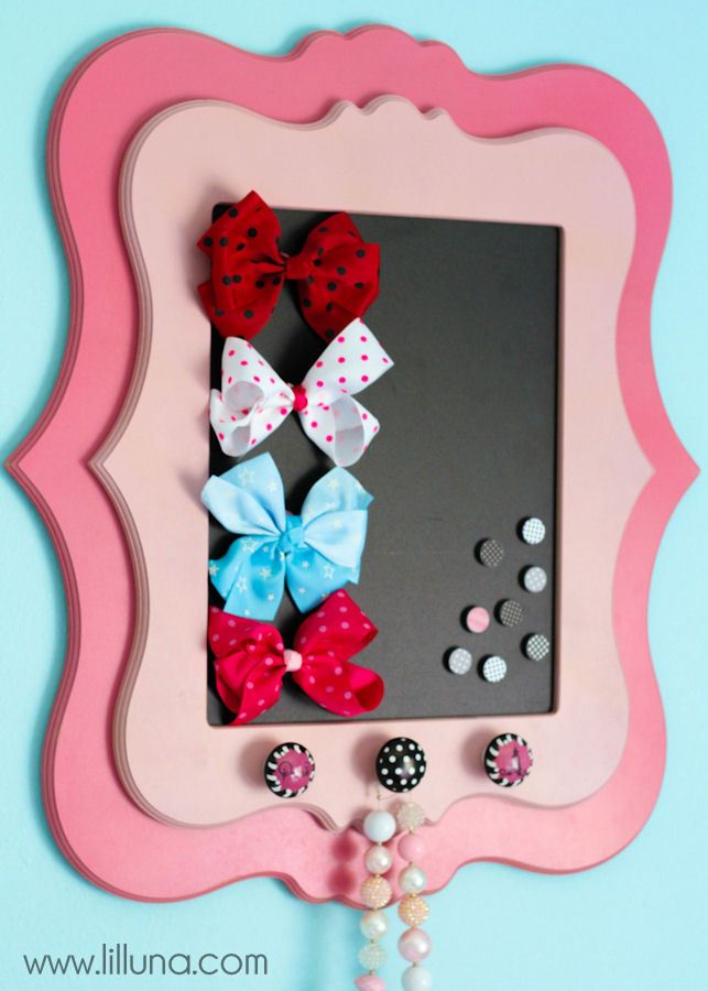 Super cute Magnetic Bow Holder tutorial { lilluna.com }
