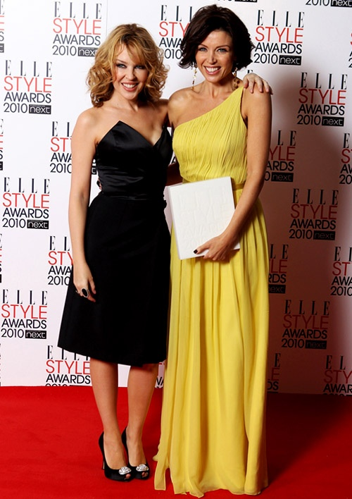 Dannii Minogue in Lisa Ho and Kylie Minogue in Yves Saint Laurent at the ELLE Style Awards. Dannii picked up an award for Best TV Star