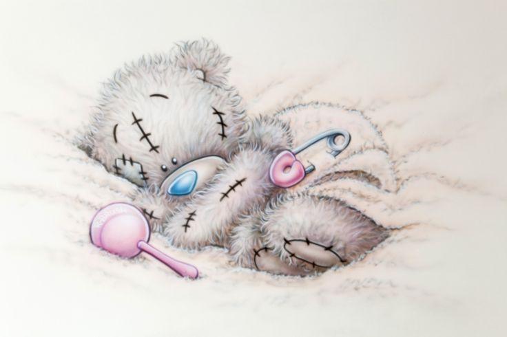Me to you beertje met rammelaar roze meisjeskamer babykamer muurschildering