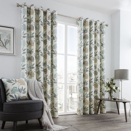 Karsten Ready Made Lined Eyelet Curtains - Teal