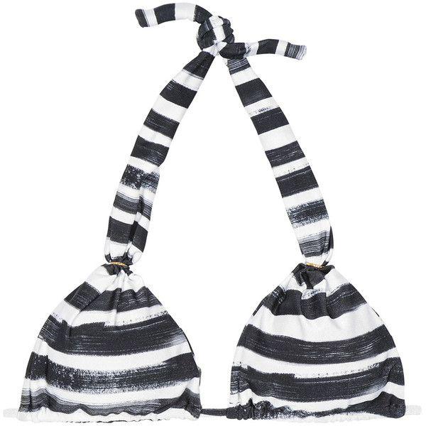 Rio De Sol Black And White Striped Halter-neck Triangle Bikini Top -... (1,825 THB) ❤ liked on Polyvore featuring swimwear, bikinis, bikini tops, hot pink, tankini tops, black and white bikini, brazilian cut bikini, striped bikini and triangle bikini