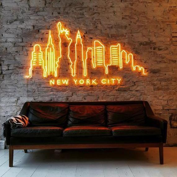 Skyline New York City Neon Art Sign Light Lamp Illuminate Shop Etsy In 2020 Sign Lighting Neon Light Signs Led Neon Signs #neon #light #living #room
