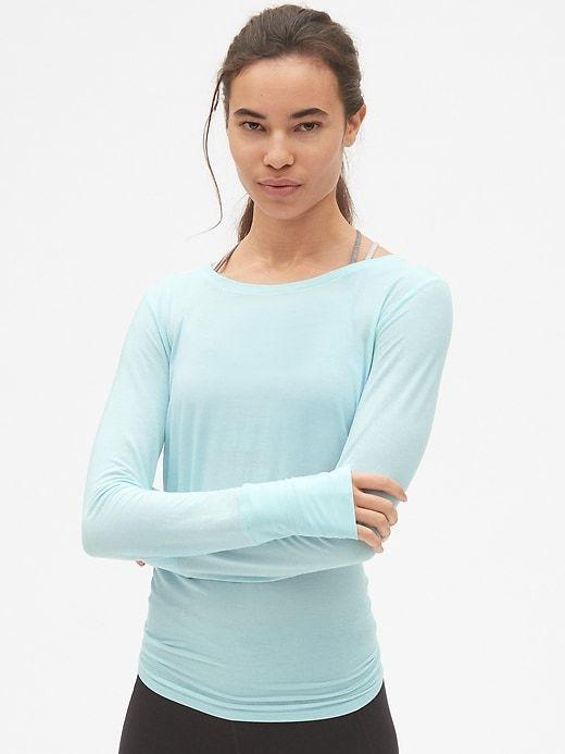 cd77b5d578279 Gap Womens Gapfit Breathe Tie-Back T-Shirt Pacific Mist