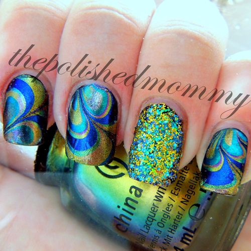 The Polished Mommy Glitter Water Marble Nails